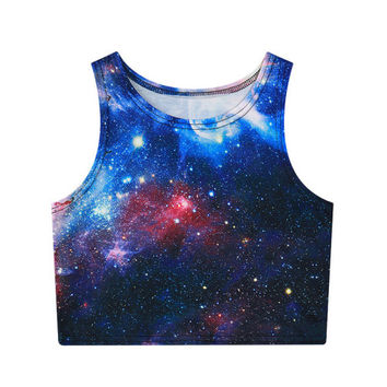 Blue Galaxy Crop Top