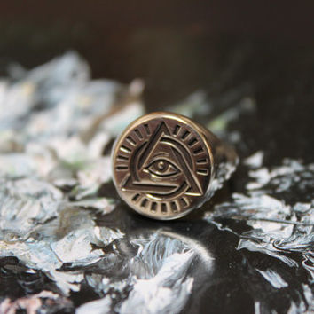 All Seeing Eye Ring / Illuminati Ring / Silver Signet Ring
