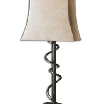 Buffet Table Lamp - Brown Body With Heavy Antiquing And Black Crackle Effect