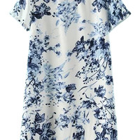 ROMWE Floral Print Buttoned Keyhole Loose Dress