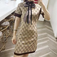GUCCI Retro Women Knitting Bowknot Short Sleeve Dress