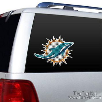 Miami Dolphins NEW LOGO Large Die Cut Perforated Window Film NFL Football
