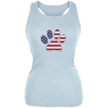 CREYCY8 4th of July Patriotic Dog Paw Pale Blue Juniors Soft Tank Top