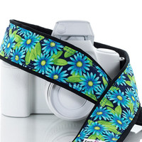 Floral dSLR Camera Strap, Blue Aqua Asters, Canon Camera Strap, Nikon Camera Strap, Mirrorless camera, 55