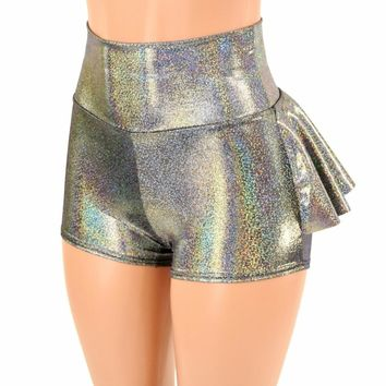 Silver Holographic Ruffle Rump Shorts