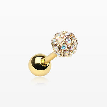 Golden Pave Sparkle Full Dome Cartilage Tragus Earring