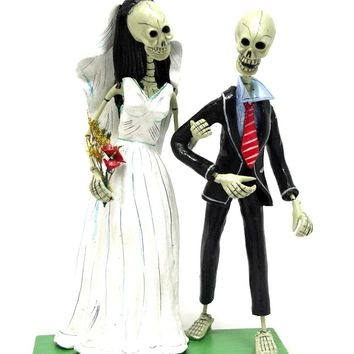 Skeleton Wedding Couple Day of the Dead Sculpture