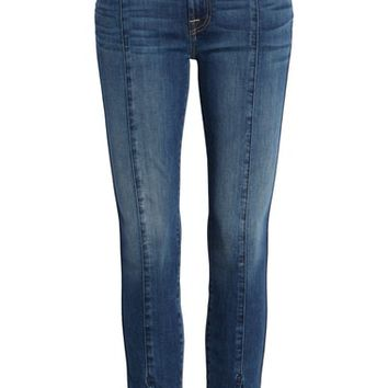 7 For All Mankind® Front Seam Slit Released Hem Ankle Skinny Jeans (Boheme Dark Blue) | Nordstrom