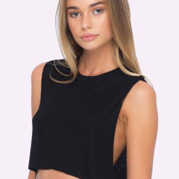 Mac Ribbed Muscle Crop Tank (Black)