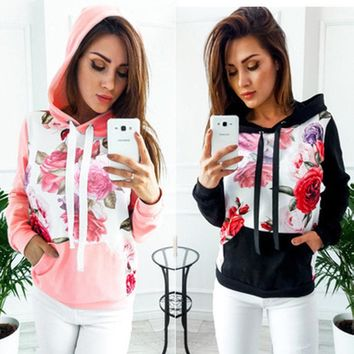 Hooded Coat Pullover Tops Sweater Women Long Sleeve Printed Hoodie Sweatshirt