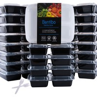 3 Compartment Microwavable Reusable Freezer Safe Meal Prep Food Storage Containers With Cutlery, 20 Pk