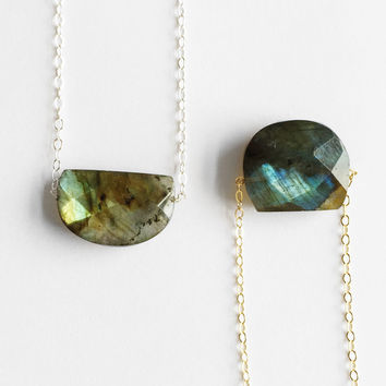 Faceted Labradorite Half Moon Necklace