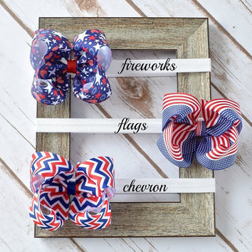 Baby Bow Headband, 4th of July Hair Bow, 4 inch Hair Bows, Bow Headband, Headbands, Big Baby Headbands, Bow Headbands, Toddler Headbands,400