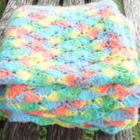 """Multicolored crochet afghan throw baby blanket 42"""" x 35"""" - Girls bedroom decor - Green blue yellow coral"""