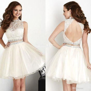 Sleeveless Homecoming Party Dresses Tulle lace Crystal Real Photos Stock Beading Little White Short Cocktail Dress C20167