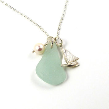 Seafoam Sea Glass, Sterling Silver Boat, Yacht and Freshwater Pearl Necklace, Beach Necklace, Sea Glass Necklace
