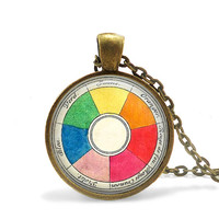 Retro artist necklace vintage French color wheel pendant art teacher gift.