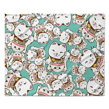 "Juan Paolo ""Ramen Cats"" Teal White Fleece Throw Blanket"