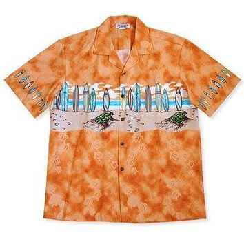 turtle surf orange hawaiian border shirt