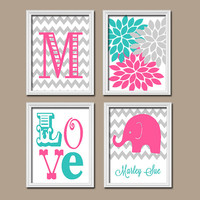 Elephant Nursery Wall Art Canvas Girl Nursery Artwork Monogram Name Pink Turquoise Grey Chevron Flower LOVE Print Set of 4 Prints Baby Decor