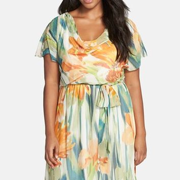 Plus Size Women's Chetta B Floral Print Belted Chiffon A-Line Dress,