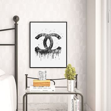 Chanel Monogram Watercolor Art Print
