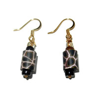 Light Pink and Brown Giraffe Print Dangle Earring, Polymer Clay Earrings