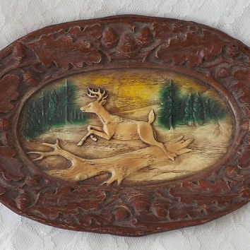 Burwood Carved Tray Deer Buck, Autumn Woodland Display, Mancave or Rustic Lodge Decor