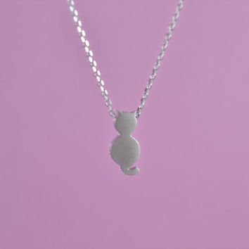 Cute Cat Necklace, Rhodium Plated Brass Pendant, Delicate Chain,Everyday Wear, Perfect Gift
