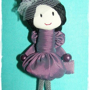 Party dress doll, brooch handmade, miniature scale doll, headdress miniature, art doll, dollhouse