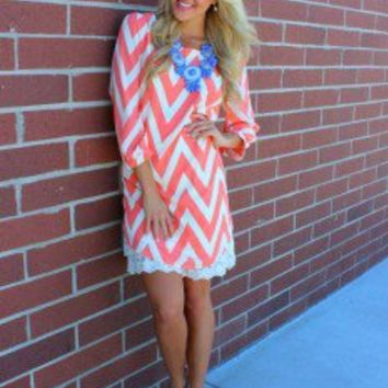 Dream a Little Dream Chevron Dress Apricot