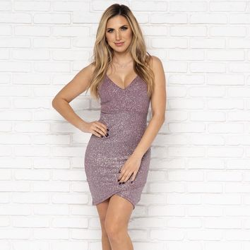 Let's Dance Sparkle Bodycon Dress in Deep Lavender