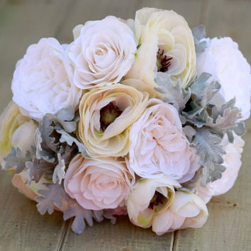 Silk Ivory and Cream Ranunculus and Roses- Winter Wedding Bouquet