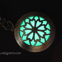 Hour of Twilight Emerald Forest Green Glow Locket Brass