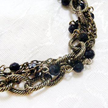 Bronze Chains and Black Crystal necklace - Chunky statement necklace with entwined chains - Modern, chain weave, professional