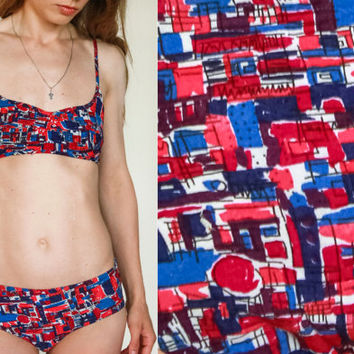 Geometrical Fabric Bikini / Multicolour GDR German Vintage 1980's Rayon Two Piece Swimming Suit / SIZE: Teenage XS UK6 Bathing Suit