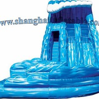 customized commercial  inflatable carve wave inflatable slip slide with pool