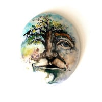 Face Mask, Face Wall Hanging, Illustrated Face with a Tree on Ceramics, Ceramic Art Wall Hanging