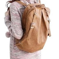 Cute Casual Style Backpack School Bag Tote Handbag Purse, Faux Leather Shoulder Hobo Bag Satchel for Girls (camel brown )