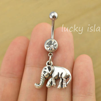 elephant belly button jewelry,elephant belly button rings,elephant navel ring,lucky piercing belly ring,friendship piercing bellyring