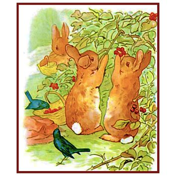 Peter Rabbit Picks Berries inspired by Beatrix Potter Counted Cross Stitch Pattern