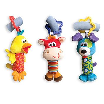 Rattles Kids Toys Chidren's Baby Toys stuffed animal Monkey Plush Toys Baby Teether Hanging Strollers Sound Toys Christmas Gift