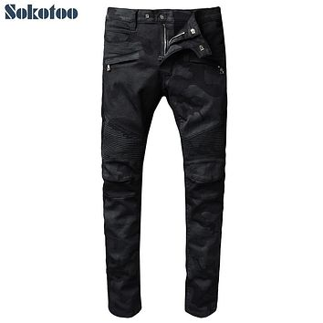 Sokotoo Men's black camouflage pleated biker jeans for moto Casual slim stretch denim pants