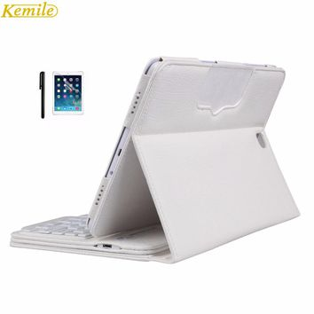 Kemile Removable Wireless Bluetooth Keyboard Portfolio Leather Stand Case Cover for Samsung Galaxy Tab A 9.7 T550 Tablet