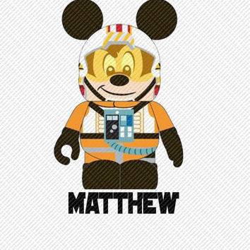 Mickey Mouse Wedge Star Wars Personalized with Name Printable Digital Iron On Transfer Clip Art Tshirts Instant Downl