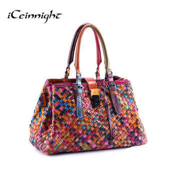 Multi-Color Genuine Leather Weave Handbag Purse