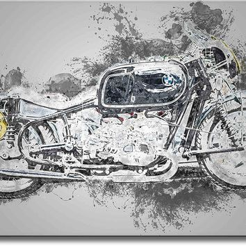 Classic Motorcycle Art Picture on Stretched Canvas, Wall Art Décor, Ready to Hang