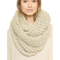 Chunky Braid Infinity Scarf in Cream