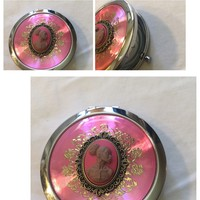 Pink Vintage cameo mirror compact/free shipping