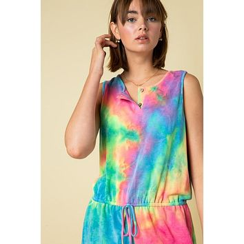 Tie Dye Print Sleeveless Romper with Button Detail
